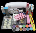 FT-89 Pro Nail Art UV Gel Kits Tools Pink UV lamp Brush Tips Glue Acrylic Powder Set
