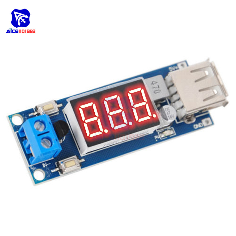 DC 4.5-40V To 5V 2A USB Charger LED Step-down Buck Converter With Voltmeter Module Low Power Consumption Automatic Protection