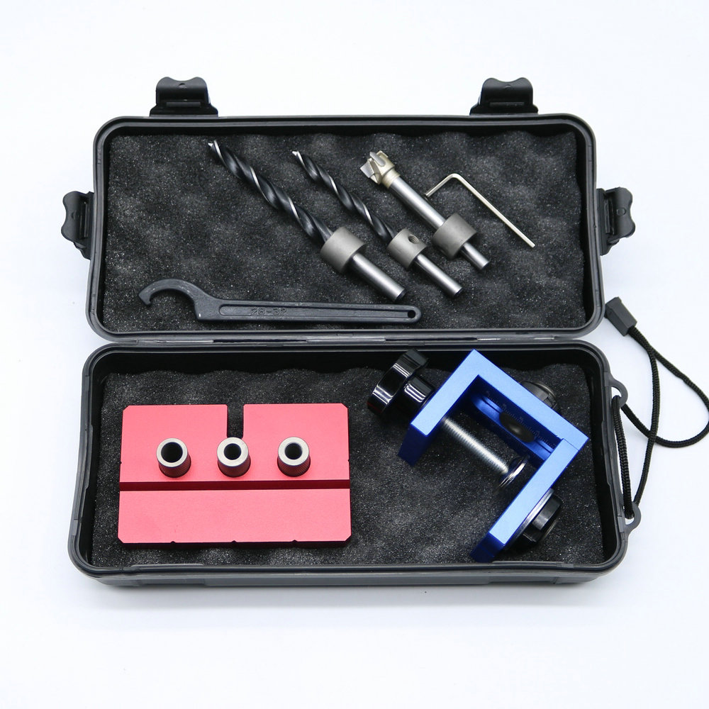 New Woodworking Pocket Hole Locate Punching Jig Kit + Drilling Bit Bushing Tools Set Free Shipping woodworking tool pocket hole jig woodwork guide repair carpenter kit system with toggle clamp and step drilling bit k527