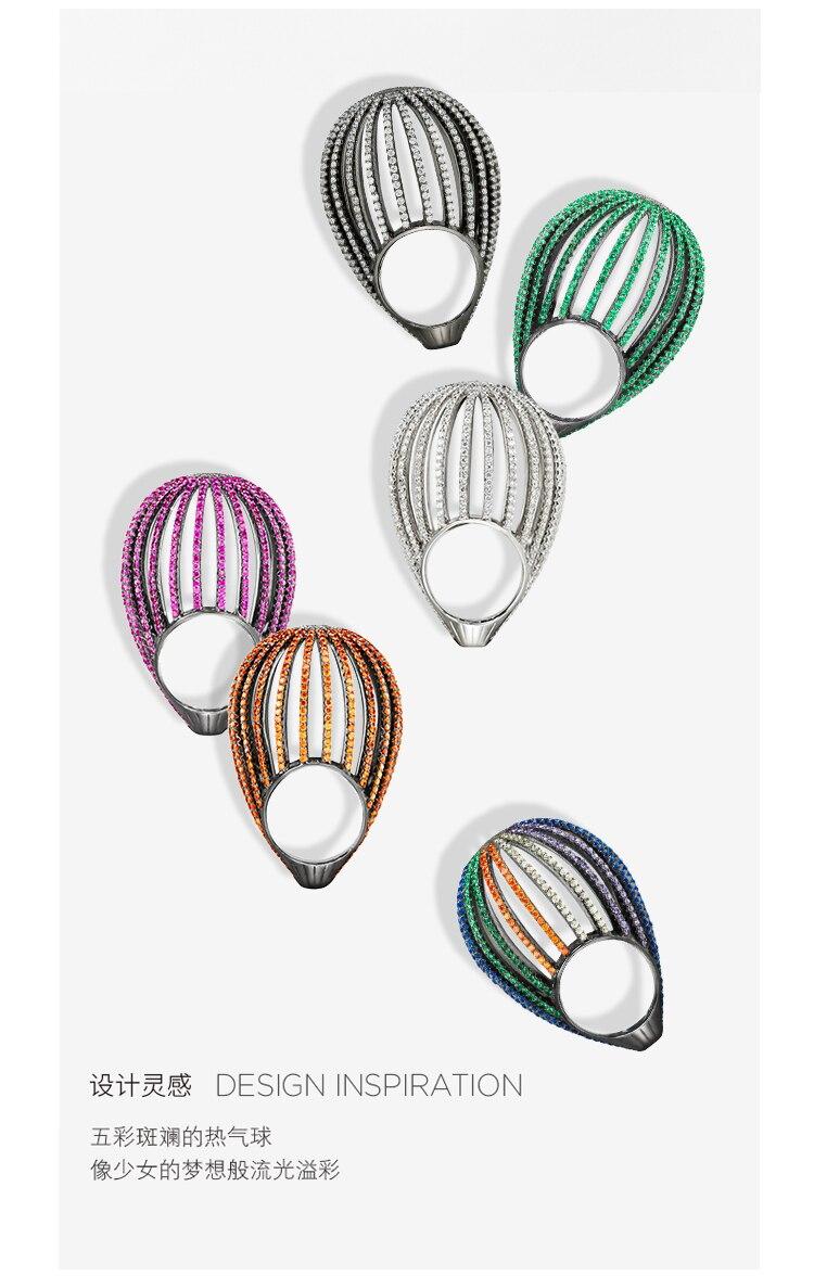 ZOZIRI lune de miel anneau de ballon à Air chaud 925 en argent sterling bijoux exagération femmes plein zircon anneau de ballon à Air bijoux HF