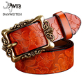 [Dwts] moda cintos largos de couro das mulheres do vintage floral esculpido cowskin cintos para as mulheres cintos cummerbunds ceinture femme