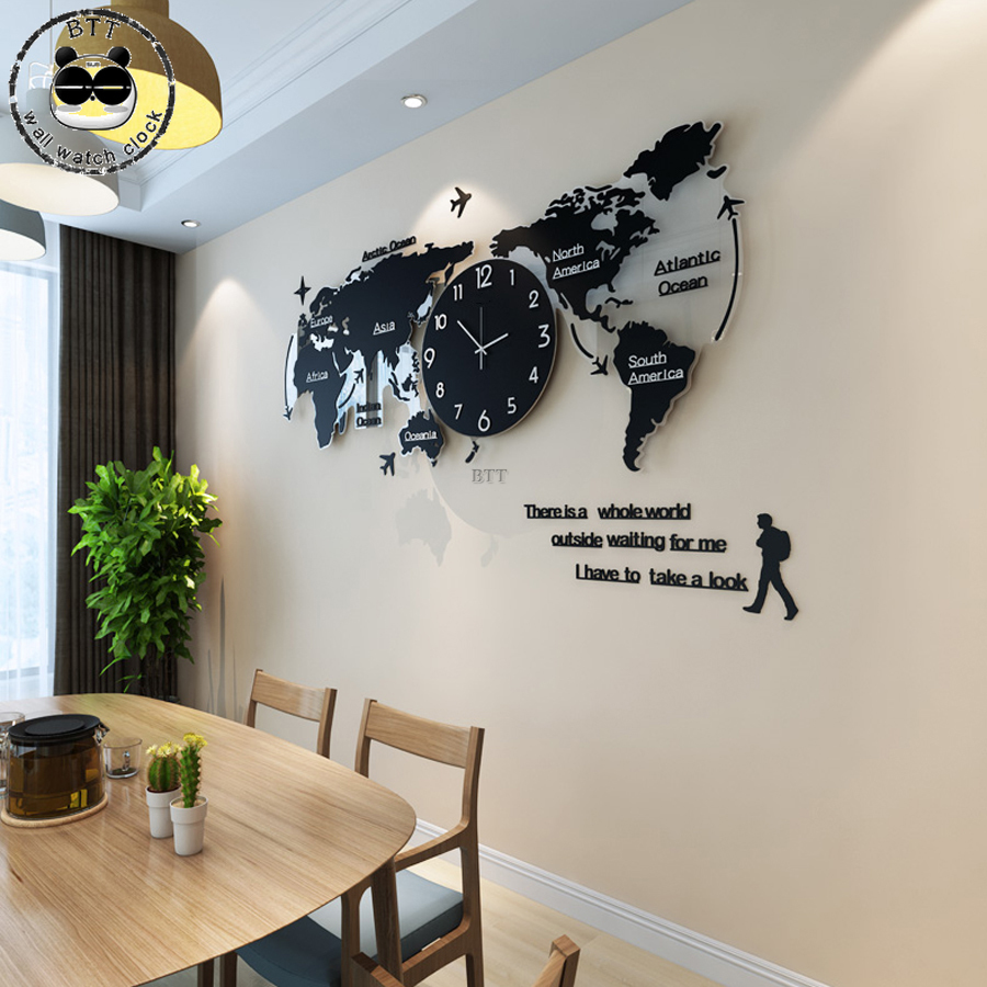 Silent Large World Map Wall Clock Modern Design Acrylic 3D Stickers Hanging Clock Glowing In Dark Clocks Wall Watch Clock