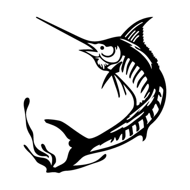 11 512 7cm marlin fishing personality reflective vinyl car decals stickers car styling accessories c2