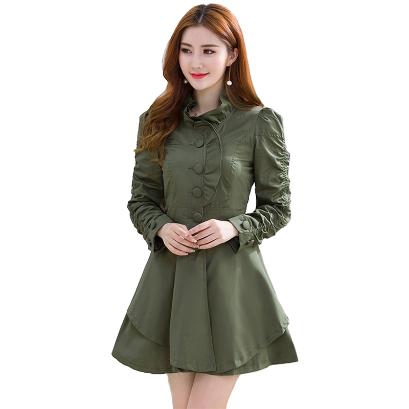 Fashion   Trench   Coat Women 2019 Spring Autumn Standing collar Ruffle Thin Windbreaker Female Slim Casual Tops Coat IOQRCJV H786
