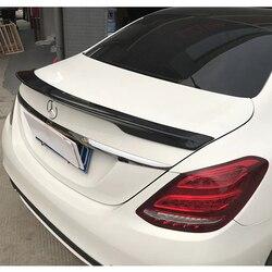 Dla Mercedes W205 Spoiler C180 C200 C250 C300 C350 C400 C450 C220 4 drzwi 2015 2016 z włókna węglowego tylny Spoiler bagażnika w Spoilery i skrzydła od Samochody i motocykle na