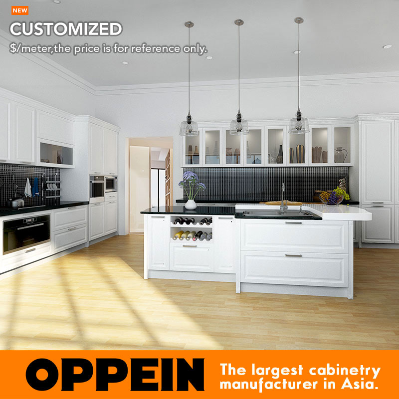 Oppein White Classic Maple Solid Wood Kitchen Cupboard Op16 S03 China