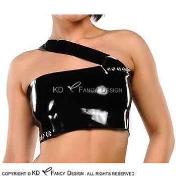 Black Sexy Latex Crop Top With Belts Decoration Collar Rubber Shirt Clothes YF-0167