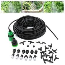1 キット散水灌漑システムポータブルミスト冷却自動水ノズル 10 メートル PVC ホーススプレーヘッド 4/ 7 ミリメートル Tシャツコネクタ