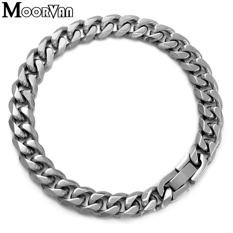 Moorvan Jewelry Men Bracelet Cuban links & chains Stainless Steel Bracelet for Bangle Male Accessory Wholesale B284 7