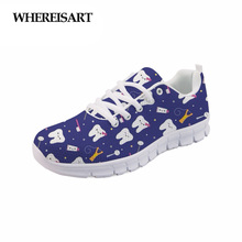 WHEREISART 2019 Spring Dentista Women Shoes Cute Girls Flats Casual Walking Sneakers Breathable Ladies Zapatos de Mujer Sapato