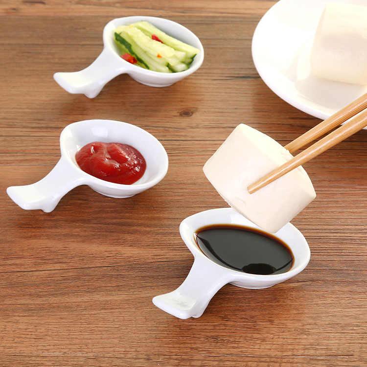 Platos de cerámica de estilo japonés, palillos, soporte de cuchara de descanso, Marco para salsa para condimentar platos de ensalada, utensilios de cocina artesanales de arte