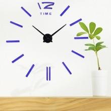 Wall clock Modern Design Large Mirror Digital Wall Clocks Wall Sticker Mute Wall Clock Home Decoration Ship Free
