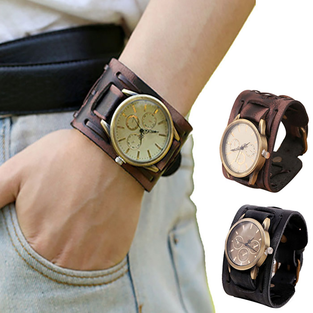 2016 Men Fashion Belt Watch Quartz Watch New Style Retro Punk Rock Brown Big Wide Pu Leather Bracelet Cuff Men Watch Cool