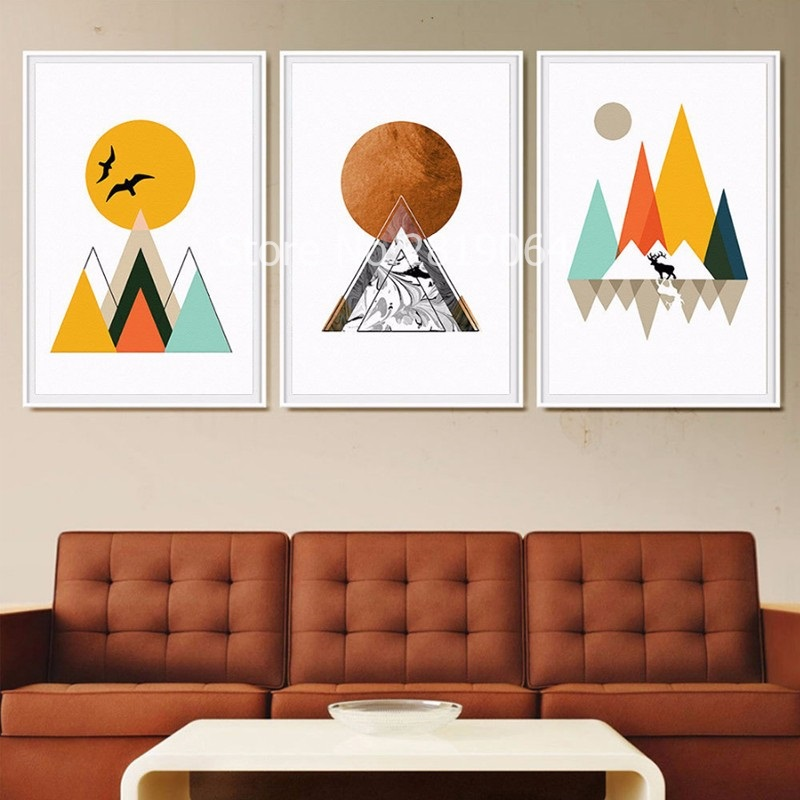 2017 New Hot Sale Mountain Sunrise Nordic On Canvas Painters Wallpapers Living Room Wall Art Childrens Deocration Unframed In Painting Calligraphy From