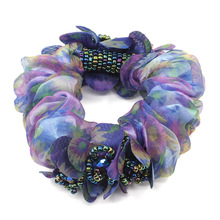 High quality  Hair Accessories for girl & women with crystal beads Rope Super Elastic Headbands floral Ponytail Scrunchie
