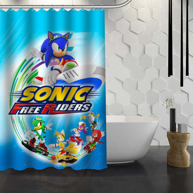 Hot Sale Custom Sonic The Hedgehog Shower Curtain Waterproof Fabric For Bathroom F