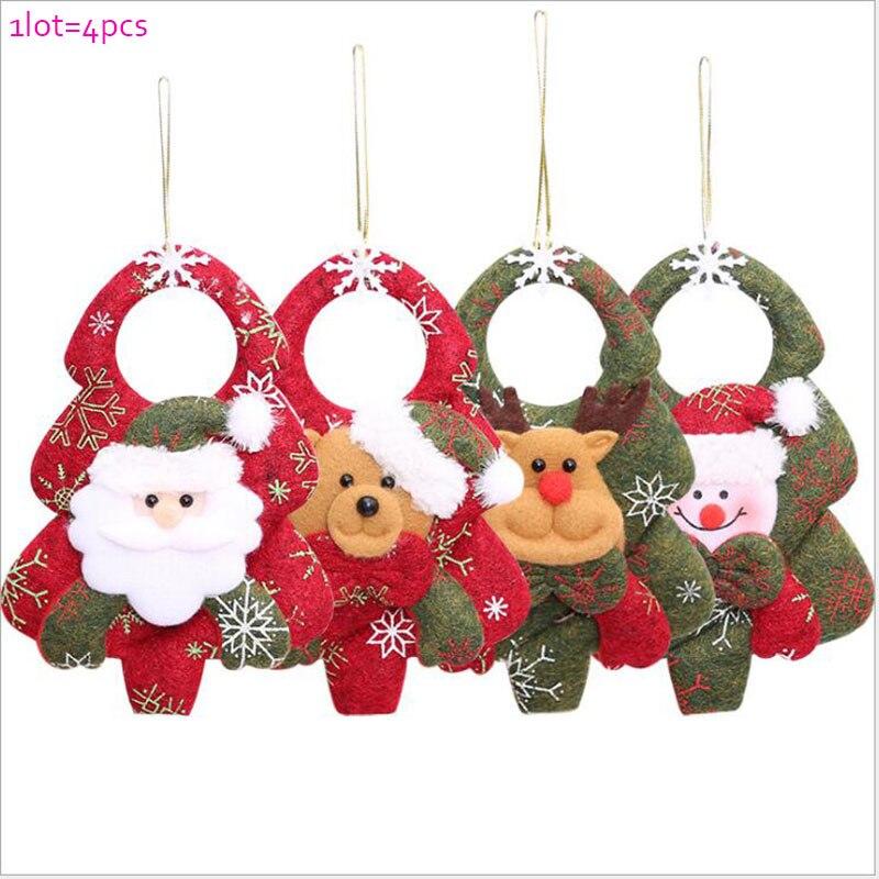 1 лот = 4 шт. Новогодние украшения-подвески украшения на Рождество дерево Санта Клаус сн ...