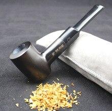 16 herramientas Durable conjunto de Pipa de fumar hecho a mano humo negro Natural tabaco ébano pipa de madera para fumar filtros de 9mm 540y