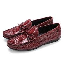 Серпантин черный/коричневый загар летние Мокасины обувь мужские лоферы натуральная кожа повседневная обувь Мужская Уличная обувь с бабочкой