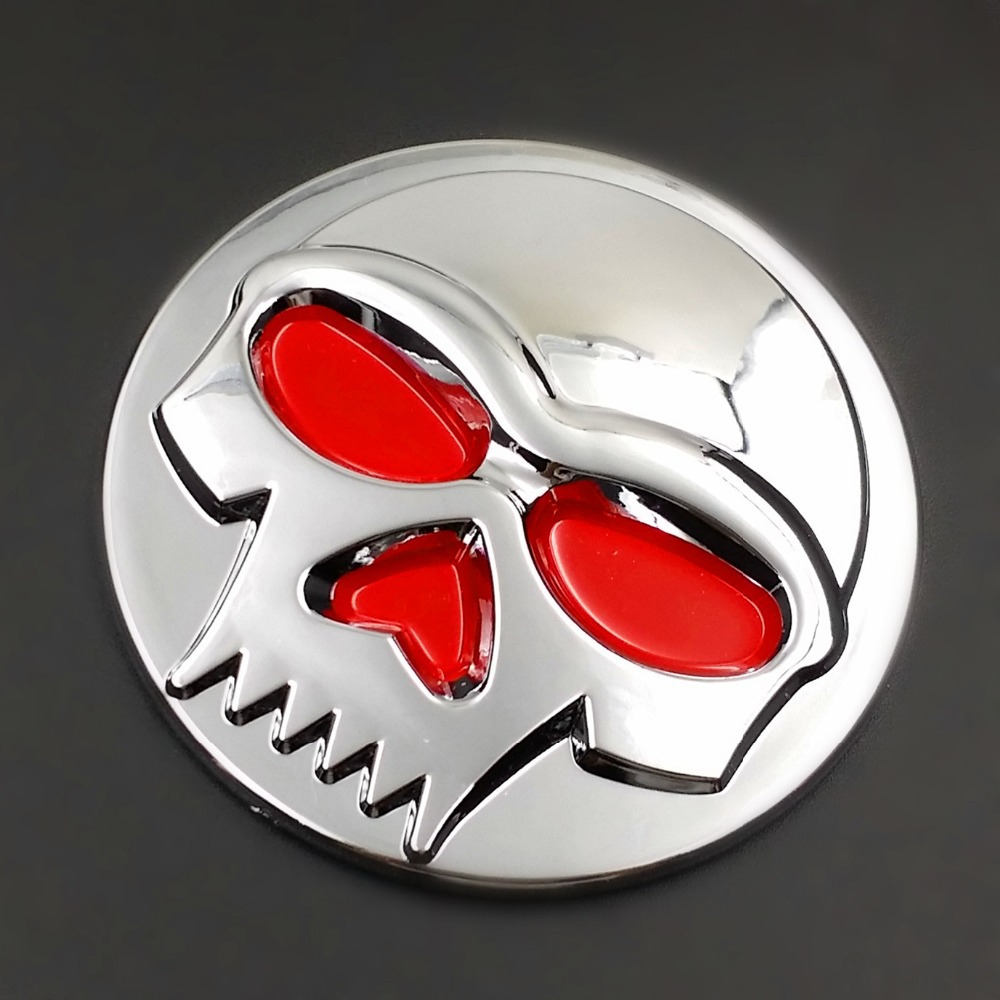 Chrome Skull Logo Emblem Badge Decal Tank Sticker For