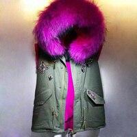 ローズレッドショートスタイルベスト毛皮ベストジャケット冬の女性のコートノースリーブベスト