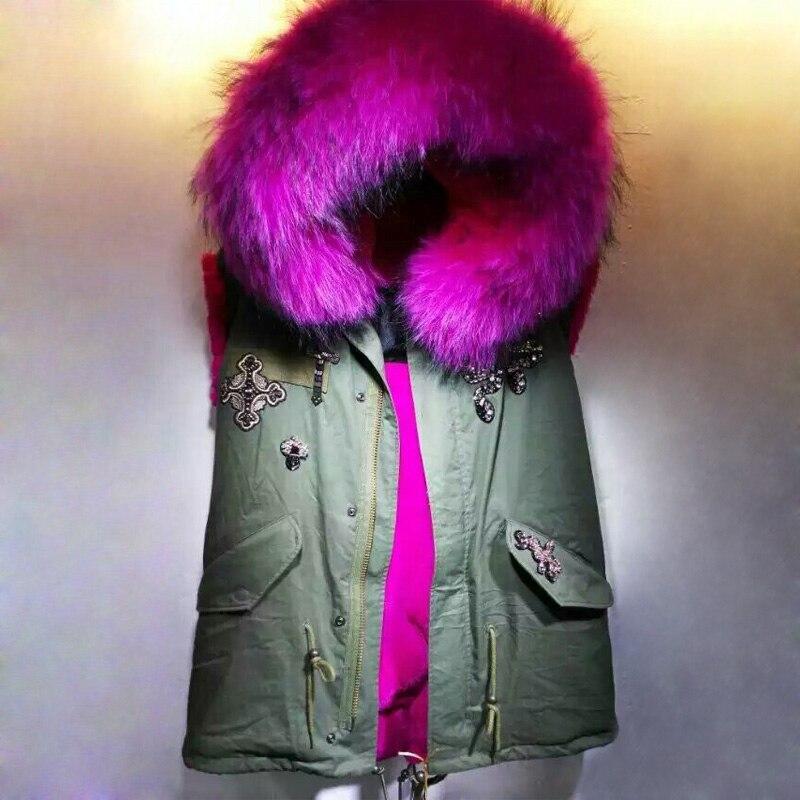 Rose red short style Vest fur Vest Jacket winter women coat sleeveless vest