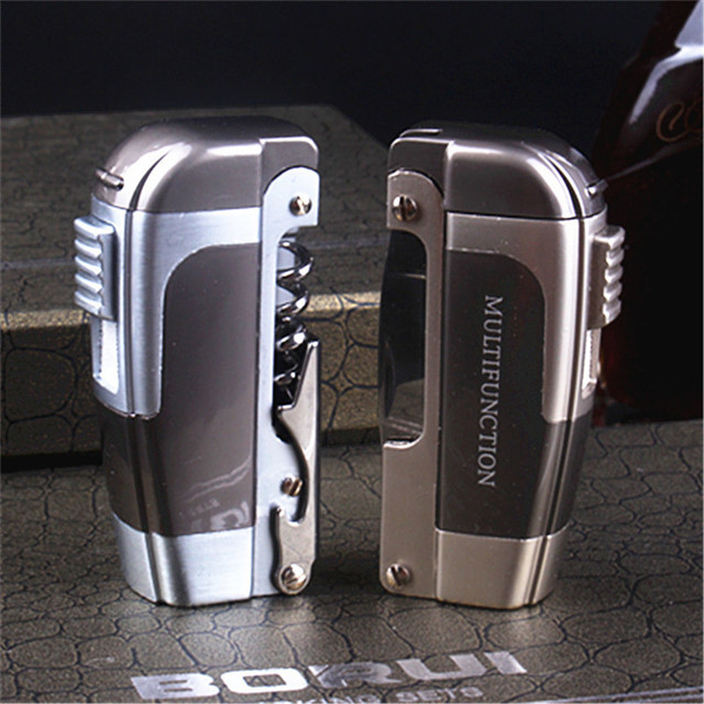 New Turbo Butane Jet Torch Lighter Pipe Lighter For Cigar Cigarette Multifunction Windproof With Knife NO GAS