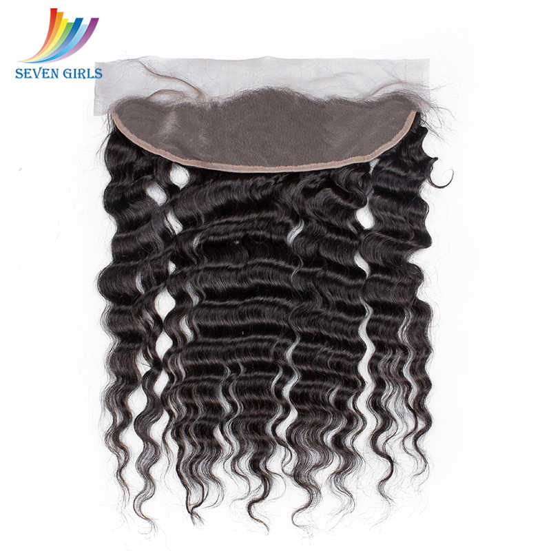 Paquetes de cabello humano virgen peruano de grado 10 a de Sevengirls con frontales de línea de cabello Natural de onda profunda 13x4 Frontal envío gratis