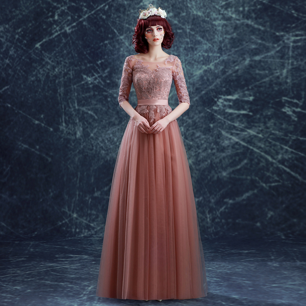 2016 new arrival stock maternity plus size bridal gown evening dress Rose  Powder Lace Long sexy pink belt princess 137 f02a2b55d5bd