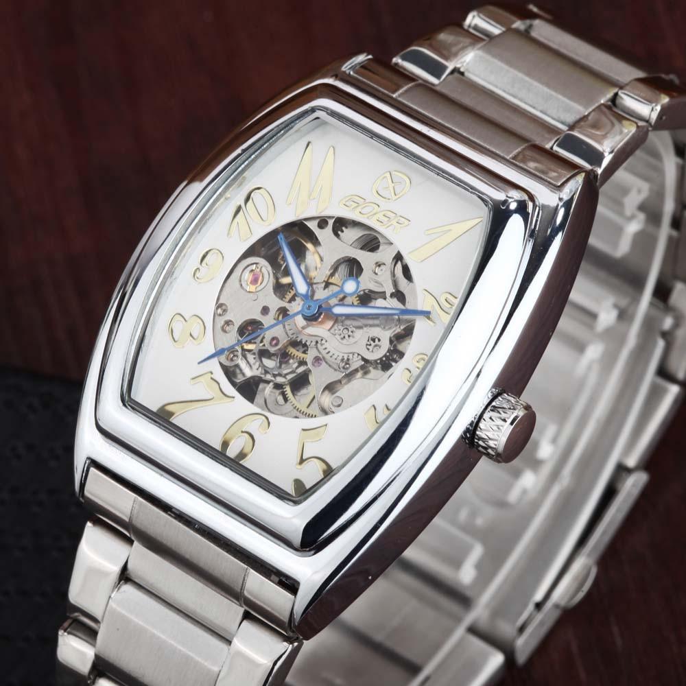 GOER  Luxury Brand Watches Tonneau Automatic Mechanical Watches Men Fashion Casual Skeleton Wrist Watches relogio masculino цена и фото