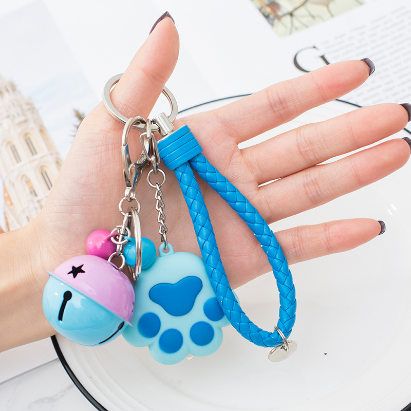 Cute Cat Paw Pendant LED Light Key Chain With Sound Torch Keyring Keyfob Gift AU