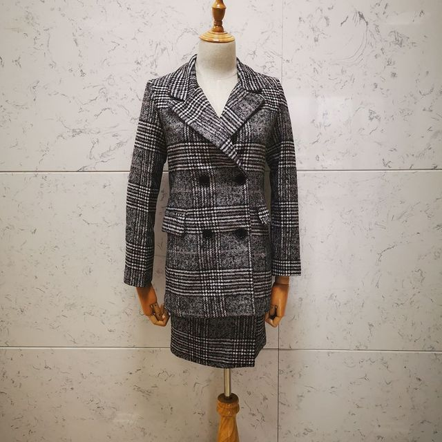 2019 houndstooth plaid winter spring women's suit jacket skirt two sets elegant formal warm coat jacket top with skirt suit