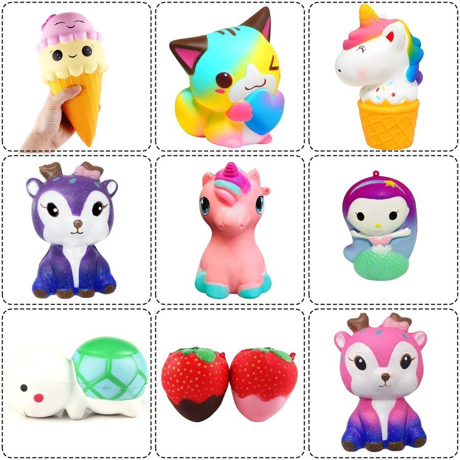 Bright Anti-stress Cute Squishy Slow Rising Squishes Unicorn Mermaid Tortoise Cat Ice Cream Strawberry Squishi Pu Squishy Toys Lanyard Suitable For Men, Women, And Children