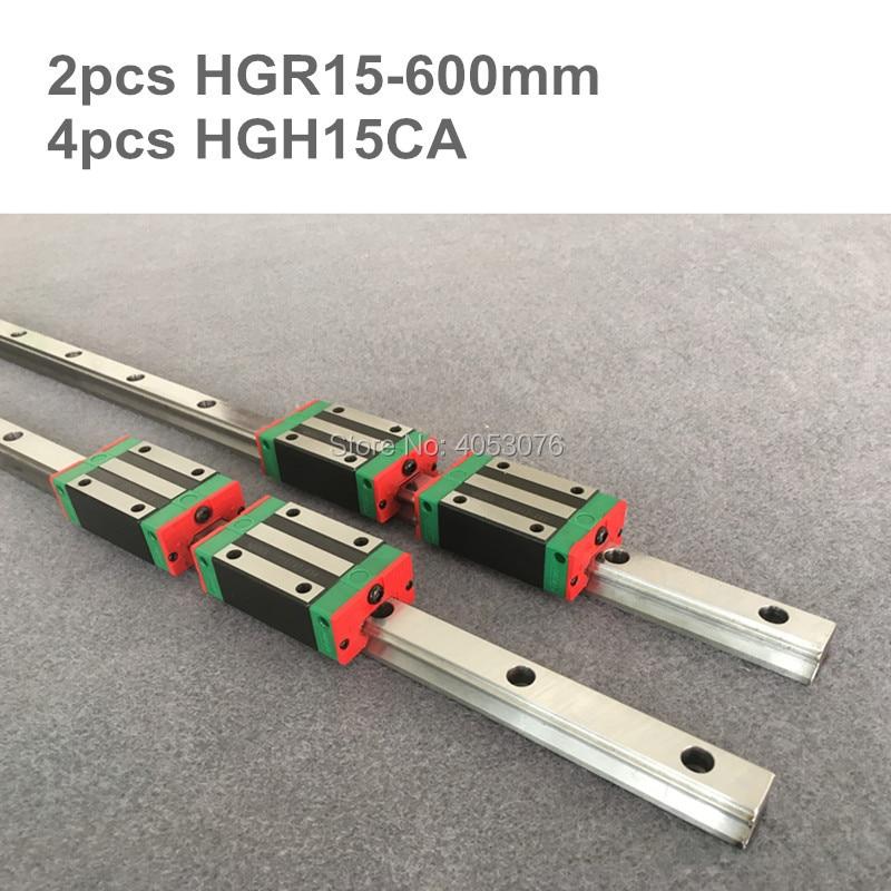 HGR 100% original HIWIN 2 pcs HIWIN linear guide HGR15 600mm Linear rail with 4 pcs HGH15CA linear bearing blocks for CNC parts все цены