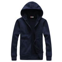 2014 Spring And Autumn Brief Fashion Long Sleeve With A Hood Cardigan Lovers Sweatshirt Navy Blue