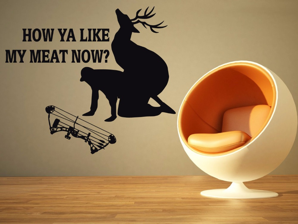 Hunter Vinyl Wall Decal Funny Hunter Deer Bow Quote Mural Art Wall Sticker Living Room Bedroom Decorative Home Decoration