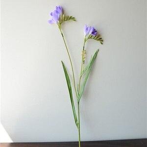 Image 3 - 7pcs משי והפרזי סחלב פרחים מלאכותיים בית גן מזויף אגרטל פרח חג המולד מסיבת חתונת קישוט 60cm ארוך צמחים