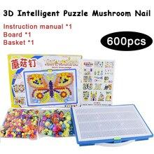 DOLLRYGA 600pcs Mushroom Nail Intelligent 3D Puzzle Game For Kids DIY Plastic Flashboard Educational Children Toys