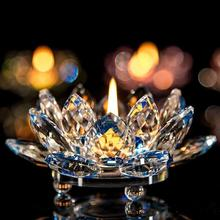 2018 new 7 Colors Crystal Glass Lotus Flower Candle Tea Light Holder Buddhist Candlestick A30 30+
