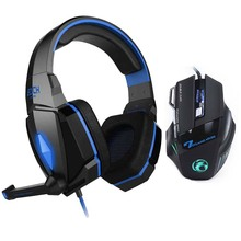EACH Stereo Gaming Headphones LED Light Game Headset Headband+7 Buttons Professional Game Mice Pro Gamer Gaming Mouse Gift