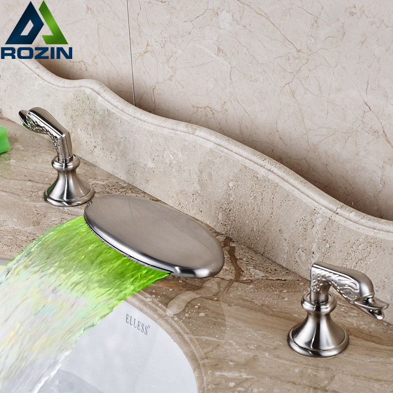 Deck Mount Brushed LED Color Changing Bathroom Faucet Dual Handle Waterfall Bath Spout Mixer Taps