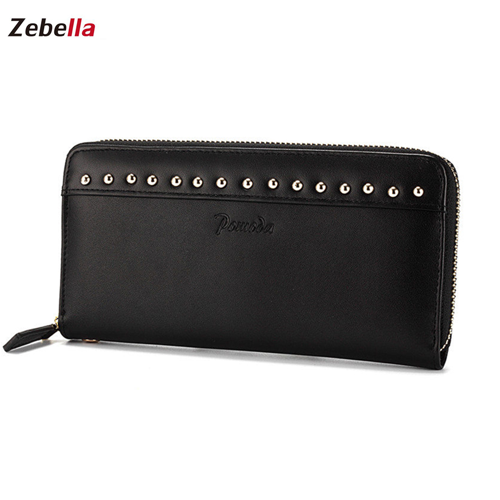 Zebella Long Zipper Ladies Purses Women Wallets Female 2018 New Brand Phone Pocket Rivet Wallet Clutch Leather Card Holdes kenneth cole new york womens leather clutch wallet w iphone smart phone pocket