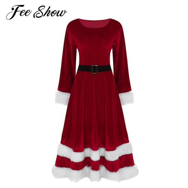 Winter Women Mrs Santa Claus Dress Vestidos Soft Velvet Scoop Neck Long Sleeve Christmas Dress Costumes Adults Fancy Party Dress