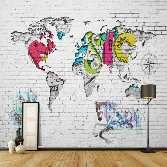 3d modern mural wallpaper world map brick background wall paper 3d modern mural wallpaper world map brick background wall paper for baby room nordic graffiti world gumiabroncs Image collections