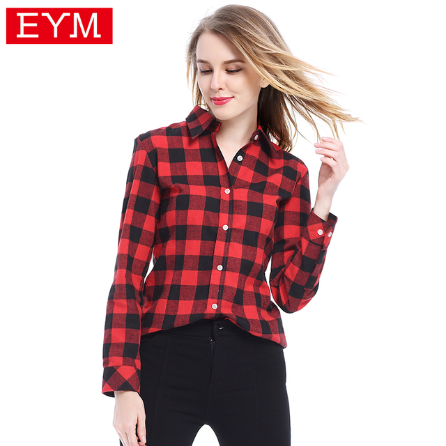 78439ab2d01 2018 New Brand Flannel Plaid Shirt Woman Blusas Shirt Casual Long Sleeve Blouses  Female Plus Size Shirts Women Tops Clothing 3XL