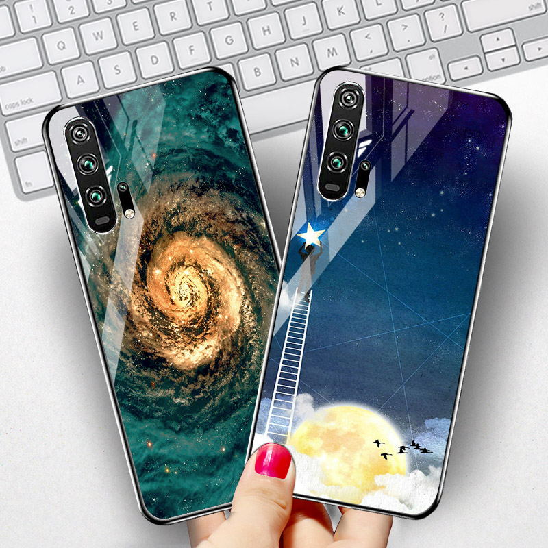SFor Huawei Honor 20 Case Tempered Glass Star Space Silicone Cover Coque On the For Huawei Honor 20 Pro Honor20 Pro Cover Bumper metalowe skrzydła dekoracyjne na ścianę