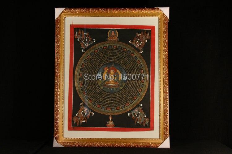 Spot moines tibétains peint mandala roue quand Mandala Thangka peinture Manjushri 45*35