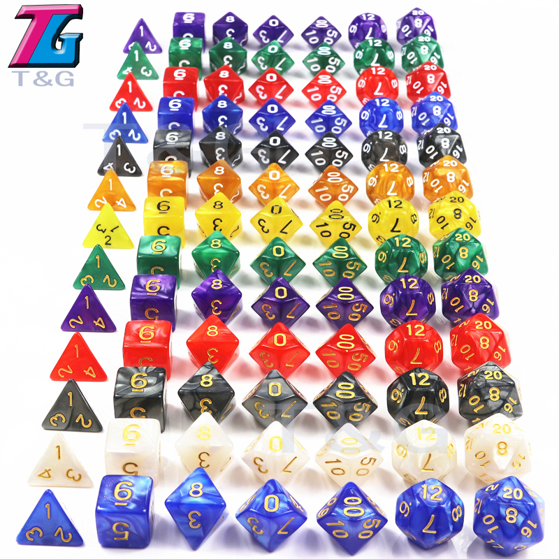 Dungeons & Dragons 7Pcs/Set  T&g Polyhedral  RPG Games Dice with Marble Effect  D4-D20 Multi Sides Dice Pop for Board Game Ludo top quality 126pcs polyhedral dice set dragons dices dnd rpg mtg table games dice activity multi sided games dices 18 set