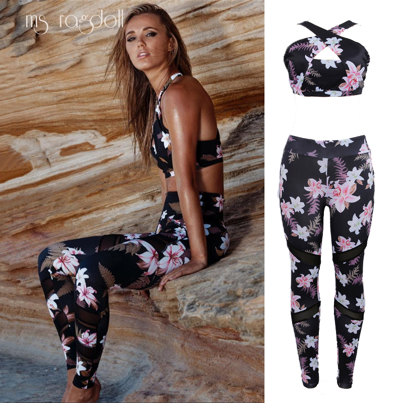 Sportings Suits Leggings For Women Floral Print High Elastic Skinny Two Pcs Top+Leggings Workout out 2017