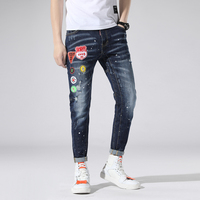 New Torn ripped jeans for men embroidery spliced skinny blue mens jeans elastic stretch slim pants clothes hip hop Spring Summer